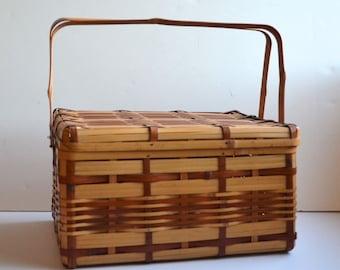 Vintage Large Picnic Basket Japanese Bamboo Retro Summer Time Gift