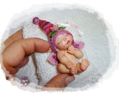Custom Hand-Sculpted OOAK Baby or Elf / Miniature cold porcelain Mini Art Doll by Follettosem