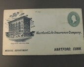 Envelope friom Hartford Life Insurance Company - Medical Department - Embossed Washington 2 Cent Stamp - Not Cancelled