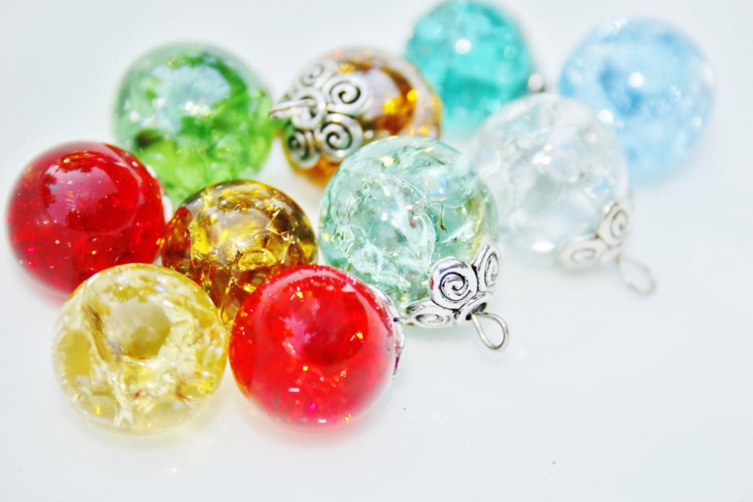 Bulk Colored Marbles : Cracked shattered fried marbles transparent see