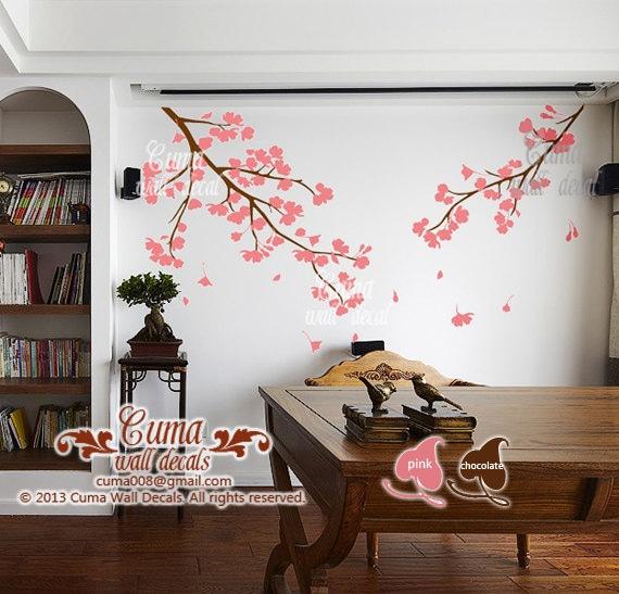Rosa flor de cerezo pared calcoman as vinilo pared floral for Calcomanias para pared
