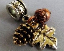 Fall Autumn Treasures European Bead With Gold Pine Cone, Copper Acorn And Silver Leaf Charms For Charm Bracelet And Necklace Chains