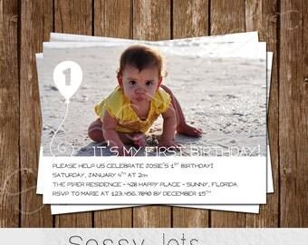 1st Birthday Invitation - Boy Girl Birthday Invitation - Simple Birthday Invitation