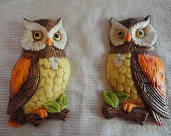 Vintage Lefton Pair of Orange Brown Owls Ceramic Made in Japan Numbered 382