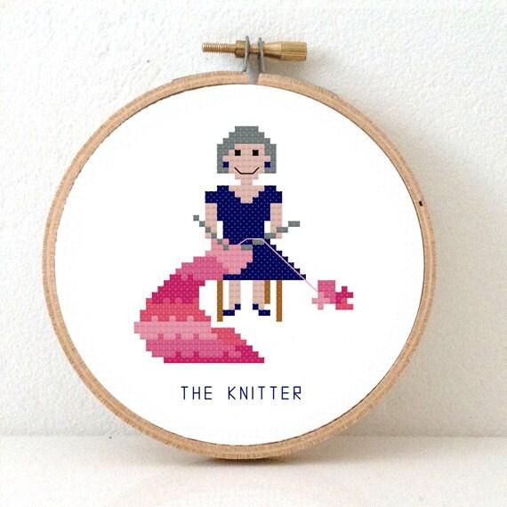 2xKnitter Cross Stitch pattern. Knitting grandma and