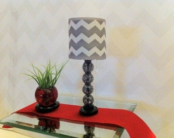 Gray Chevron LED Doll Lamp - Playscale 1:6 Scale Lamp for Barbie / Monster High/  Bratz/ J-Doll... Fashion Doll Lamp