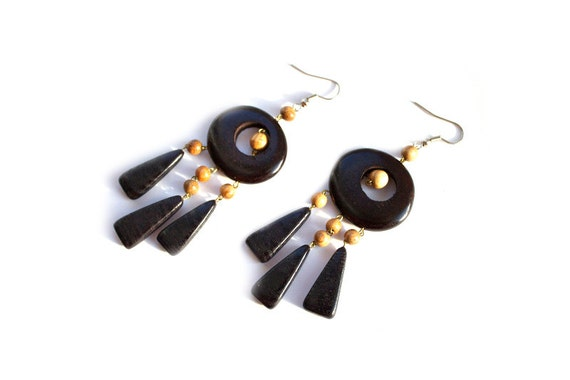 Wooden earrings with pendant. Handmade wooden jewelry.
