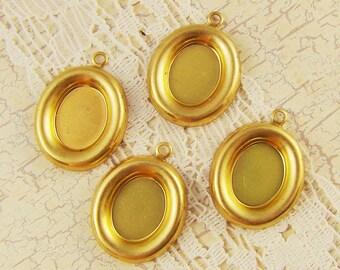 10x8mm Oval Raw Brass Bezel Settings Charms Pendants - 6