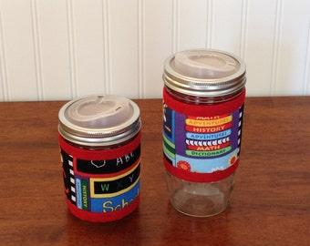READY TO SHIP Mason jar cuff, Teacher gift, School print wide mouth jar cozy sleeve