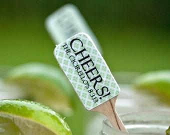 Personalized Wedding Drink Stirrers, Swizzle Stick, Stir Sticks - Green and White