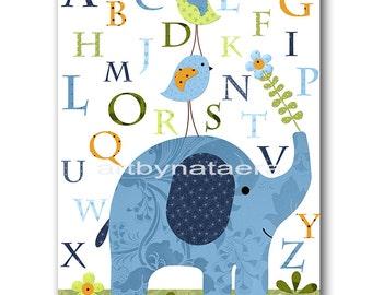 Elephant Nursery Alphabet Nursery Alphabet Baby Boy Nursery Prints Children Wall Art Kids Room Decor Nursery Wall Art Blue Green Navy