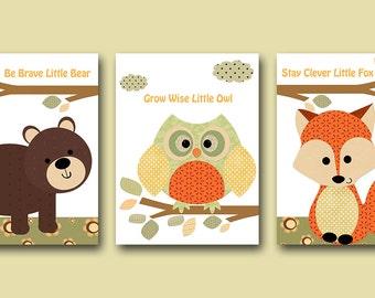 Kids Art Kids Wall Art Baby Boy Nursery Art Print Baby Boy Room Decor  Fox Nursery Owl Nursery Bear Nursery set of 3 orange green