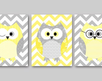 Owl Decor Owls Nursery Baby Nursery Art Decor Kids Wall Art Boy Baby Girl Nursery Print Baby Room Decor Kids Art set of 3 Grey Yellow /