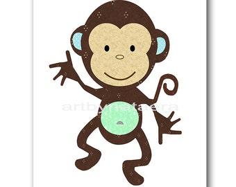 Monkey Nursery Nursery Art Kids Wall Art Baby Nursery Decor Baby Boy Nursery Kids Art Baby Room Decor Nursery Print gray blue