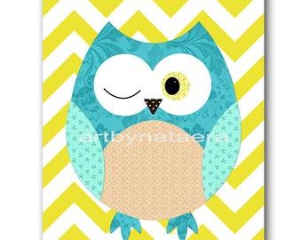 Owl Decor Owls Nursery Kids Wall Art Baby Boy Nursery Print Baby Room Decor Kids Art Baby Nursery Art Boy Print 3 Yellow Turquoise Baby