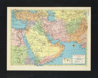 Vintage Map Near East Persia Arabia From 1953 Original