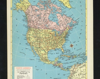 Vintage Map North America From 1953 Original