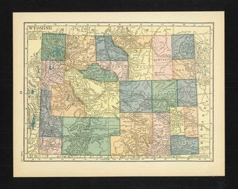 Vintage Map Wyoming From 1926 Original