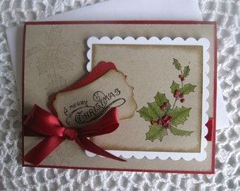 Handmade Greeting Card: Vintage Christmas (Made To Order)