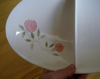1960s Franciscan Pink A Dilly Divided Vegetable bowl Very Good MCM retro
