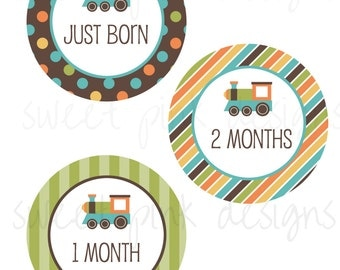 Monthly Baby Stickers, Milestone Stickers, Month Stickers, Baby Month Stickers, Train, Baby Boy, Baby Month Printables