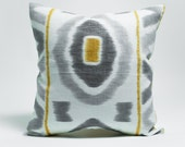 SALE - Grey and Yellow Ikat Print Linen Pillow Cover was 40