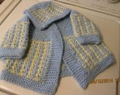 knitted baby boy or girls four piece sweater set for  0-6months old baby.  Ready to ship.  Baby shower gift