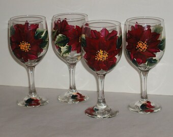 Four Hand Painted Poinsettia Wine Glasses
