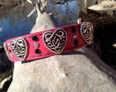 Cool custom leather pink martingale style dog collar with celtic hearts and rhinestones