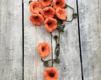 Orange Wool Scarf, Lily Necklace, Crochet Necklace, Oya Wool Lariat, Boho Beaded Necklace, Skinny Scarf, Crochet Accessory, ReddApple