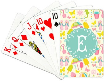 Monogrammed Playing Cards Personalized Deck of Cards Custom Card Deck Coastal Playing Cards