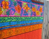 Sale! LATIN AMERICA minky baby blanket / toddler cuddle blanky... ready to ship... Guatemala, Mexico, flowers, bright... 31.5 by 41 inches