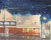 Phoenix Restaurant in the Rain - Original print made by the Artist