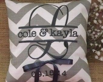 Chevron Ring Bearer Pillow, ring bearer pillows, ring pillow, embroidery, monogram, wedding pillow, custom, personalized