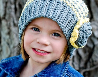 Crochet Houndstooth Slouch Beanie Hat with Flower