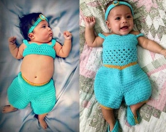 crochet Disney's 'Jasmine' inspired princess jumper- size newborn-12months