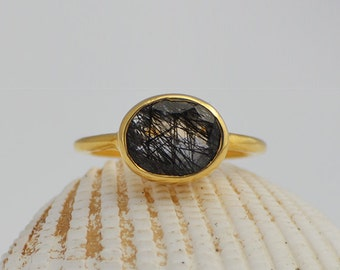 Faceted Rutilated Quartz ring - statement ring -  natural gemstone gold rings