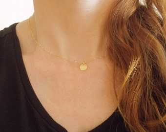 Tiny Necklace Coin, Dainty Gold Necklace, Gold Disc Necklace, Dainty Coin Necklace, Small Disc Necklace