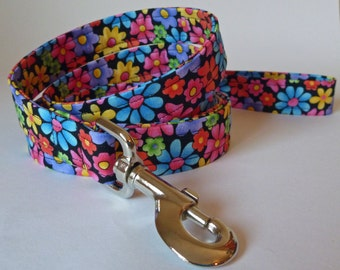 Dog Leash - Multi Colored Flowers to go with Dog Collar - Summer Flowers