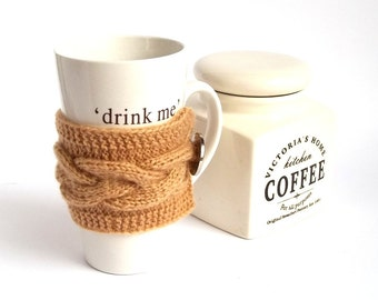 Brown Coffee Cup Cozy. Knitted Mug Cozy. Knit Tea Cup Cosy.