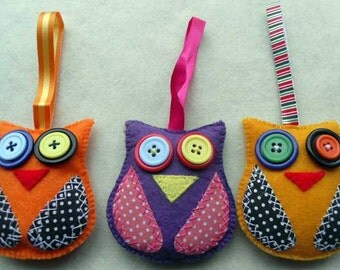 Three Colourful Hanging Felt Owls Home Decorations