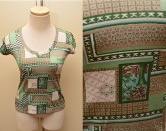 70s Green Patchwork Patterned Shirt Bar Harbor Women's Small