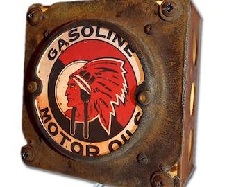 Rustic Industrial Chic Red Indian Motor Oil Night Light repurposed