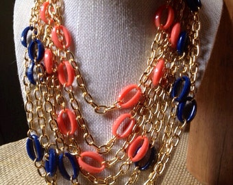 SILA  - Coral Oval Acrylic Chain Link Necklace Chainmaille Statement Modern Simple
