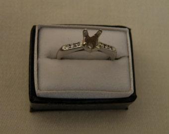 Sleek Diamond Platinum Ring Mount Setting - Size 5 1/2 U.S. for 6 mm Gemstone