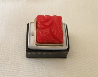 Carved Coral Sterling Silver Ring - Size 8 U.S.