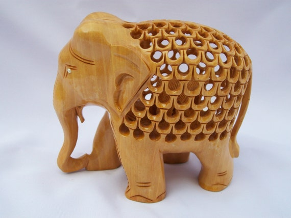 Wooden elephant inside a sculpture hand crafted show