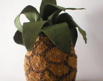 Primitive Folkart Chunky Pineapple Hooked Rug  PATTERN PDF Beaconhillcollect  We Ship Internationally