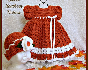 Baby Girl's Thanksgiving Dress with Matching Cloche - Newborn to 18 Months