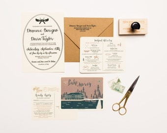 Rustic Summer Camp Wedding Invitation Set - Letterpress Printed